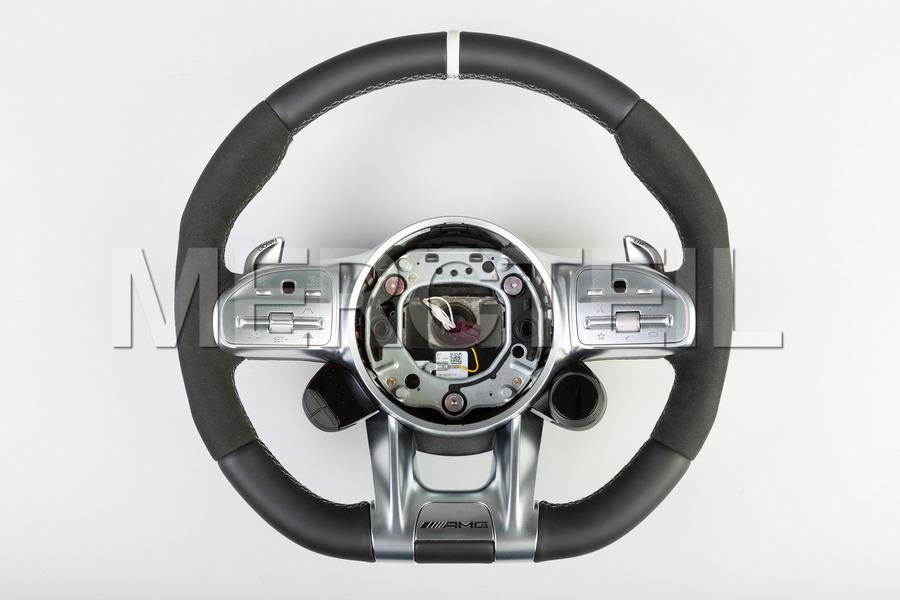 AMG Black Leather Alcantara Steering Wheel White Insertion; A000460861; AMG GT C190.