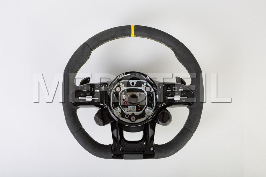 AMG Black Yellow Full Alcantara Steering Wheel; AMG GT C190.