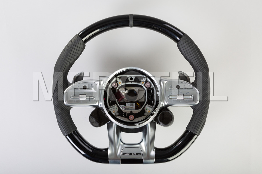 AMG Black Leather Steering Wheel Piano Black; A0994640005 9E38, AMG GT C190.